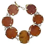 Rare Islamic Antique Mughal Carnelian Link Bracelet with Seven Islamic Seals