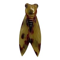 Large Vintage Lucite Cicada Brooch Symbol of Good Luck