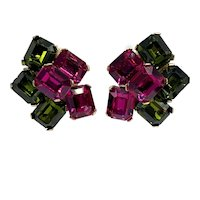Ciner Emerald Cut Green and Hot Pink 1980s Clip On Earrings
