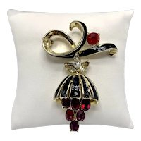 Swinging Pendulum Triangle of Stones Brooch in Black, Ruby Red and Gold Tones
