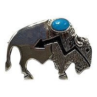 "Ervin Hoskie Navajo Sterling Silver Buffalo ""Heartline"" Brooch with Turquoise"