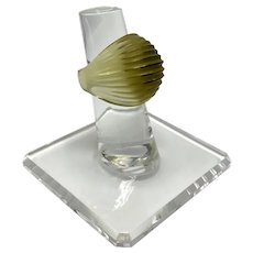 Lalique Crystal Ribbed Dome Cocktail Ring in Original Box