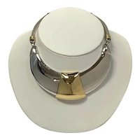 1980s Alexis Kirk Silver-tone and Gold-tone Hinged Collar Necklace