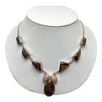 Sterling Artist's Necklace With Tiger's Eye and Ocean Jasper