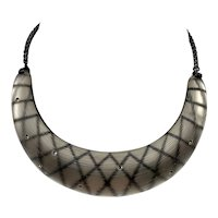 Rare Alexis Bittar Frosted White Necklace With Black Interior Crosshatch Design