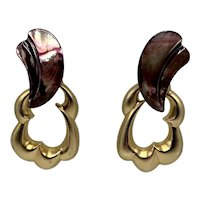 Convertible Stephen Dweck Abalone Shell And Gold-washed Sterling Pierced Earrings