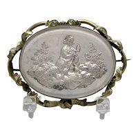Antique Victorian Mother of Pearl Under Glass Excalibur Scenic Cameo
