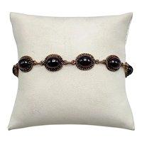 """Victorian Oval Purple-Red Garnet Link """"Tennis"""" Bracelet In 8K Gold"""