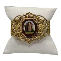 Micro Mosaic Victorian Bracelet With Temple of Augustus, Pula
