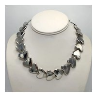 Zina Beverly Hills Heavy Sterling Link Silver Heart Necklace
