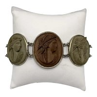 19th Century Antique Victorian Lava Cameo Bracelet With Seven Links