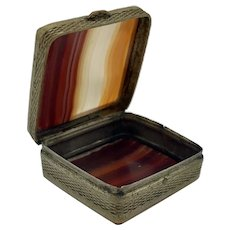 Victorian Banded Agate Square Stamp Box From 1870