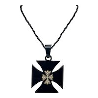 Black Victorian Era Mourning Necklace Heraldic Cross and Pearls with Hair -Insert Pendant