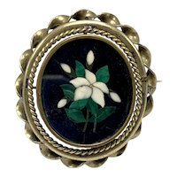 Antique Italian Pietra-Dura Mosaic Brooch with Floral Motif Mounted in Unusual Bezel