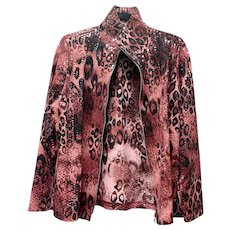Sensual Misook Animal Print Jacket With Clear Paillettes High Neck Collar, Full Zipper