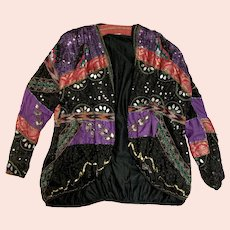 1980s Glamorous Judith Ann Creation Sparkling Multi-Color Multi-Textured Evening Jacket
