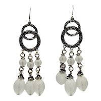 Stephen Dweck Faceted Quartz and Sterling Pierced Chandelier Earrings