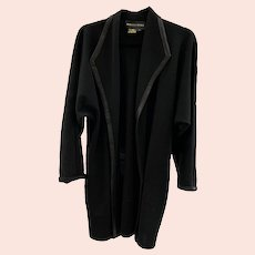Rebecca Moses Black Wool Knee Length Long Sleeve Jacket With Black Leather Trim