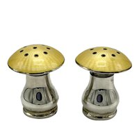 Pair Sterling Yellow Guilloche Enamel Mushroom Shape Pepper Shakers with Removable Caps