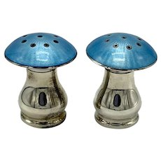 Pair Sterling Blue/Aqua Guilloche Enamel Mushroom Shape Pepper Shakers with Removable Caps