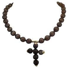 1800s Open Weave Hair Necklace with Cross