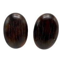 Gerda Lynggaard Signed Monies Modernist Large Oval Wood Clip-On Earrings