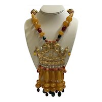 Lavish 1980s Kenneth Lane Egyptian-Style Necklace With Faux Pearls/Coral/Amber