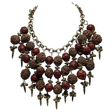 Rare Miriam Haskell/Frank Hess Necklace Of Carved Cinnabar and Nuts