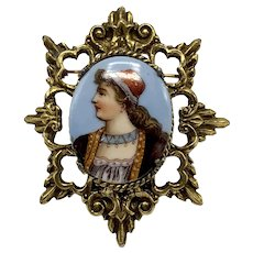 Hand-Painted Portrait On Ceramic Pendant of A Woman Wearing A Red Hat