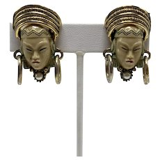 Selro or Selro & Selini Thai Girl Clip-On Earrings with Gold-look Headdress,