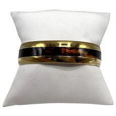 Vintage Sergio Lub, Los Angeles, California Faux Tortoise and Brass Cuff Bracelet