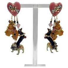 "Lunch at the Ritz ""Dog Lovers"" Pierced Earrings"