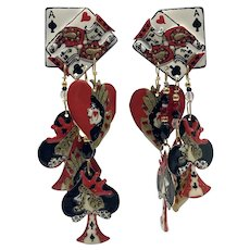 Lunch at the Ritz Canasta Face Card Clip-on Earrings