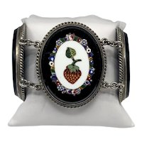 Exceptionally Fine Victorian Micro-mosaic Three Panel Bracelet