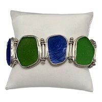 Sterling Link Bracelet With Organic Insets in Royal Blue and Lime Green