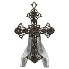Victorian Filigree Metal Gold-look Cross with Floral Design and Marcasite Pendant