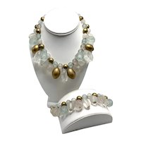 Moulded Plastic Baubles And Beads Necklace/Bracelet Set In Sea Green, Crystal, Clear, and Gold Look