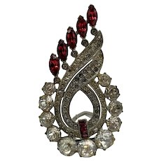 Vintage Art Deco Dress Curvaceous Dress Clip With Clear and Ruby-Red Stones
