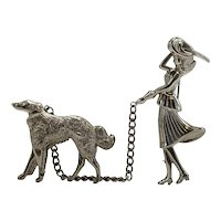 1950s Coro Lady Walking Wolfhound Silver-tone Chained Pin