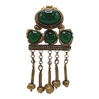 1980s P&M Paris Jade Look Gold-tone Pin with Dangling Balls