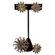 Sara Coventry Demi-Parure Opaline Rivoli Mid Century Brooch, Earrings and Ring Set