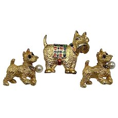 Three 1960s Small Breed Terrier Dog Pins