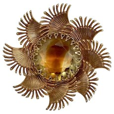 1980s Starburst Brooch with Large Topaz Colored Stone
