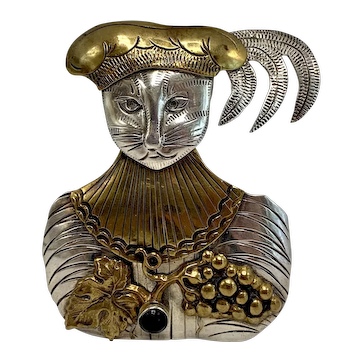 King of the Cats Sterling, Brass, and Garnet Brooch