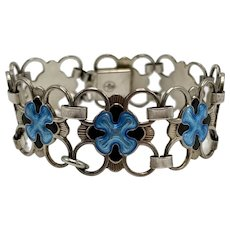 Mid-Century Sterling Jensen & Aamodt Blue Enamel Link Bracelet