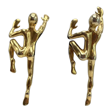 Vintage Climbing Men Gold-Tone Clip-on Earrings