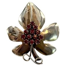 Sandor Sterling Grapes Leaf Pin with Pink Rhinestone Grapes