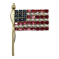 Exceptionally Large Prong-Set American Flag Pin