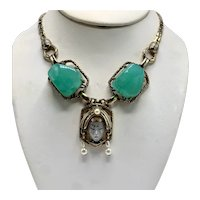 1950s Selro/Selini Princess Necklace with Large Green Lucite Prong-Set Stones