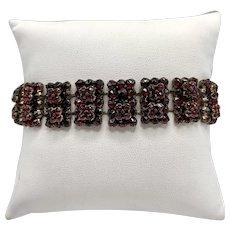 Antique Bohemian Garnet Link Bracelet With Intense Red Floral Pattern Design